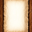 Background - Old crumpled paper on wood — Stock Photo