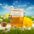Jar of honey and spring flowers - Stock Photo