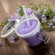 Royalty-Free Stock Photo: Spa and aromatherapy - lavender bath salt and flowers