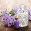 Spa still life - essential oil and bath salt — Stock Photo