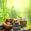 Spa stones on green bamboo background — Stock Photo