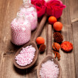Pink bath salt for aromatherapy — Stock Photo