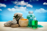 Spa and aromatherapy - oils and bath salt — Stock Photo