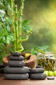 Spa treatment - hot stones on bamboo background — Stock Photo
