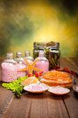 Spa supplies - aromatherapy bath salt — Stock Photo