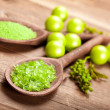 Aromatherapy - green bath salt — Stock Photo