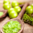 Green salt for aromatherapy — Stock Photo #6510307