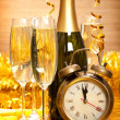 Happy New Year - Champagne and clock - Zdjęcie stockowe