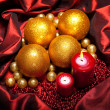 Christmas baubles and candles — Stock Photo #6519761