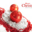 Merry Christmas - red baubles — Stock Photo