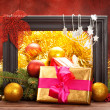 Stock Photo: Christmas decoration - gifts and balls