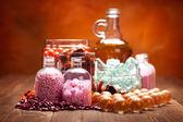 Spa supplies - essential oil and bath salt — Stock Photo
