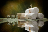 Spa supplies - soap and towels — Stock Photo