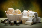 Spa - towels, soap, candles and massage tools — Stock Photo