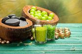 Aromatherapy - salt and spa stones — Stock Photo