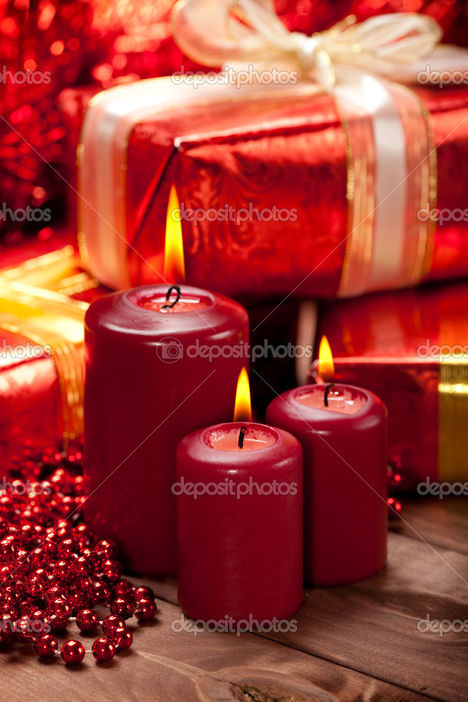 Candles and gift  Stock Photo #6519423