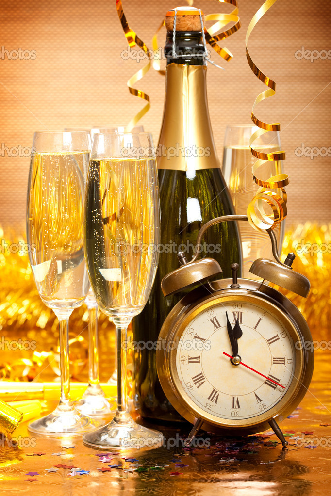 Happy New Year - Champagne and clock  Stock Photo #6519604