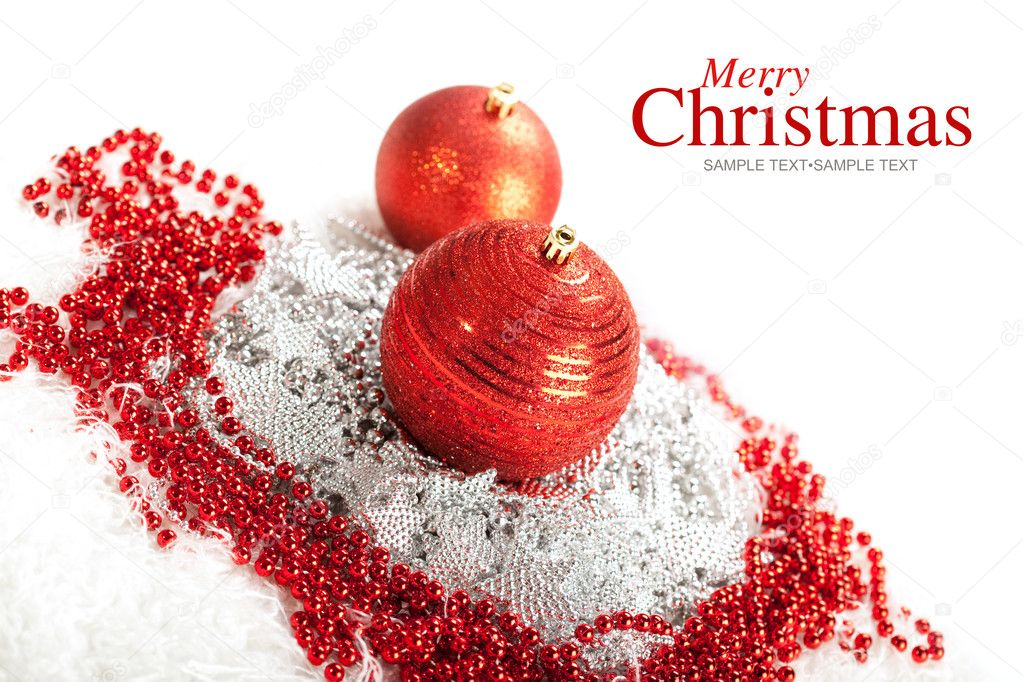 Merry Christmas - red baubles   Stock fotografie #6519795
