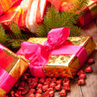 Xmas gifts and spruce tree — Stock Photo #6520220