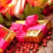 Xmas gifts and spruce tree — Stock Photo
