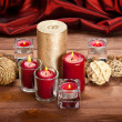 Christmas decoration - candles and balls — Stock Photo