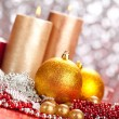 Decoration - christmas balls and candles — Stock Photo #6520772