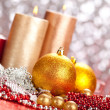 Decoration - christmas balls and candles — Stock Photo