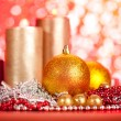 Baubles and candles — Stock Photo