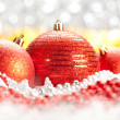 Christmas decoration - three red balls — Stock Photo