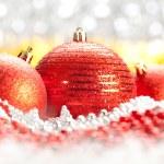 Christmas decoration - three red balls — Stock Photo #6521056