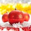 Stock Photo: Christmas decoration - red balls