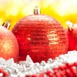 Christmas - Three red balls — Stock Photo
