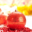 Christmas decoration - red bauble — Стоковое фото