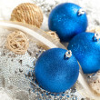 Chrostmas decoration - three blue baubles - Stock Photo