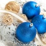 Chrostmas decoration - three blue baubles — Stock Photo