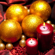 Christmas decoration - balls and candles — Stock Photo