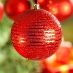 Kırmızı Noel topları — Stok fotoğraf