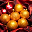 Xmas decoration - golden balls — Stock Photo