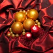 Christmas - baubles and candles — Stock Photo