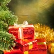 Christmas background - gifts and tree — Stock Photo