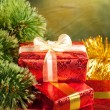 Christmas tree and gifts — Stock Photo