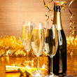 Stock Photo: Happy New Year - champagne and party decoration