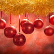 Christmas background - red balls — Stock Photo