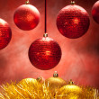 Gold and red baubles - Stock Photo