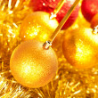 Golden balls and garland — Stock Photo