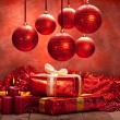 Stock Photo: Christmas background - balls, candles and gifts