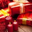 Christmas - gifts and candles — Photo