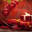 Christmas background - decoration red balls and gifts — Stock Photo #6522928
