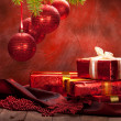 Stock Photo: Christmas background - decoration red balls and gifts