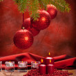 Xmas decoration - red balls and candles — Stok fotoğraf